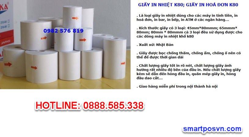 Giấy in hóa đơn (in bill) nhiệt khổ K80 chất lượng cao - HA1